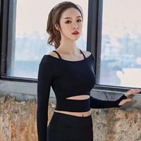atasan senam yoga gym fitness baju olahraga wanita thumbhole