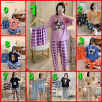 piyama 3 in 1 baju tidur wanita import spandek comic
