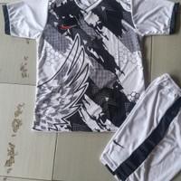 Baju stelan jersey kaos futsal bola dan volly dewasa - Putih, M