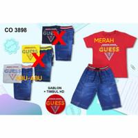 setelan kaos celana jeans pendek lepis anak baju pergi Kids 3-4th