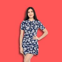 Baju renang dewasa wanita model rok celana motif anyelir - M