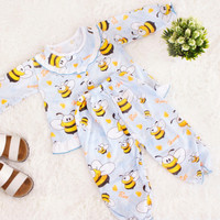 Setelan Baju Tidur Bayi Perempuan Bee Lebah Umur 1 - 2 Tahun | Biru