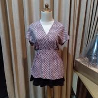 atasan blouse wanita vneck batik import KOREA jumbo L XL cewek