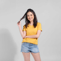LEMONE Suparon Spandek Atasan Lengan Pendek Baju Polos Kaos Wanita