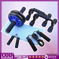 Set Alat Olahraga Gym Fitness Roller PushUp Bar Jump Rope 5 in 1