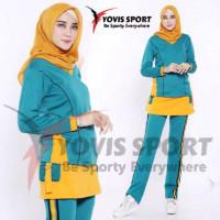 Setelan Baju Training OlahRaga Senam Plat / Baju senam Jumbo wanita - Tosca kuning, XXL