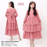 Baju dress anak perempuan tanggung/pakaian tunik anak cewek 1021 GE - PINK, 4