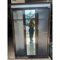 Lemari pakaian alumunium full kaca pintu 3 minimalis TERMURAH
