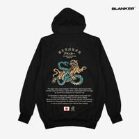 Hoodie BLANKER Japan Snake vs Tiger - Hitam, L