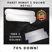 Paket 2 Guling Bulu Angsa Asli, Type Royal 70% Down uk 37x92cm