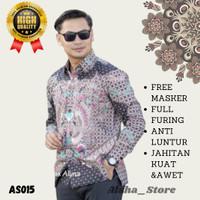 Baju Kemeja Pakaian Atasan Pria Cowok Batik Lengan Panjang AS015