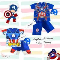 Setelan kostum Baju anak laki laki motif Captain America + free Topeng - 2-3 tahun, Model 1