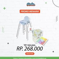 Paket Kursi Makan Bayi Ikea Blue + Informa Rainbow Towel Set 7 Pcs