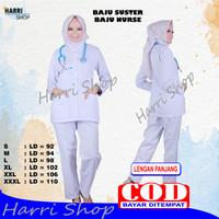 Baju Perawat/Baju Nurse/Baju Jaga Pria Wanita Lengan Panjang