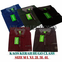 BAJU KAOS KERAH HUGO CLASS PRIA SUPER JUMBO BIGSIZE M-XL XXL 2XL XXXL