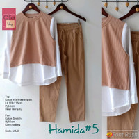New Hamida #5 Setelan Celana Wanita Modis Casual Baju Hangout Santai