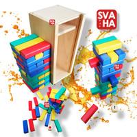 Mainan Edukasi Anak Tumbling Tower 12 Tingkat Balok Kayu Standar SNI