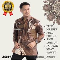 Baju Batik Lengan Panjang Pria Cowok Dewasa Slim Fit Terbaru AS067