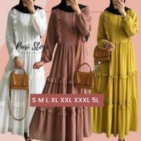 Gamis Jumbo Murah Raline Dress Wanita Muslimah S M L XL XXL XXXL 5L