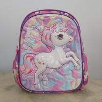 Tas sekolah ransel anak perempuan TK timbul kuda Unicorn pony