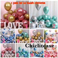 Paket mini balon latex chrome campur warna