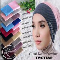 Ciput Rajut Inner Bandana 2 Warna Premium/Bandana 2tone Daleman hijab - Armi/Avocado