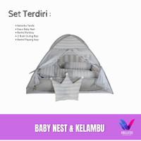set kasur bayi matras baby nest dan kelambu bayi garis dan polos abu