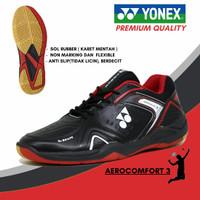 sepatu sport badminton pria yonex hitam merah olahraga bulutangkis - 40