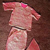 Kostum Mermaid Setelan tangan pendek/Baju putri duyung anak - Merah, XS