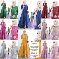 Setelan Celana Wanita Muslim Brukat Aplikasi Mutiara Cantik Joana Set