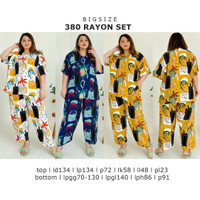 Setelan Jumbo 380 Rayon Set Bigsize Piyama Wanita Big Size Besar Murah