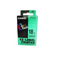 Casio Ez Label Printer XR-18GN1 18mm Black On Green Label Printer Tape