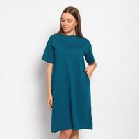 DRESS KOREA, Baju Terusan Wanita, Midi Dress, Casual, Tipe ROYAL BLUE