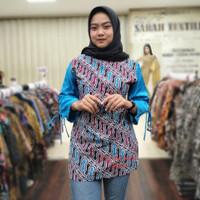 Baju batik wanita modern/tunik batik wanita lengan panjang murmer - M