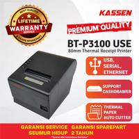 KASSEN BT-P3100 USE PRINTER KASIR THERMAL PAPER 80 AUTOCUTTER ANTRIAN