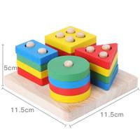 Mainan Edukasi Basic Shape Kayu Balok Geometri Montessori Bentuk Warna