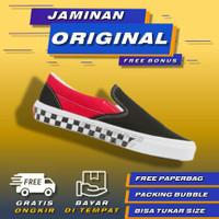 Vans Slip On BMX Checkerboard Black Red Original Sepatu Vans Catur Ori