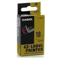 Casio XR-18GD1 Tape Cassette, 18mm X 8mm, Black on Gold