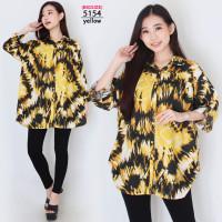 XXXL Baju Kemeja Wanita Jumbo LD130 Atasan Rayon Motif Lengan Panjang - 5154-yellow