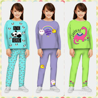 Piyama Anak Perempuan Usia 3 - 11 Tahun/ Baju Tidur Anak/ Baju Tidur