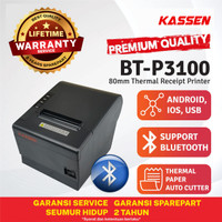 KASSEN BT-P3100 BLUETOOTH PRINTER KASIR THERMAL PAPER 80 AUTOCUTTER