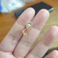 Giwang donat anting tusuk tindik emas asli 375 bola disko mata putih