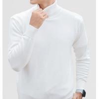 Baju TURTLENECK Style kaos leher tinggi pria turtle neck fashion PUTIH