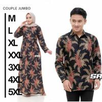 Baju sarimbit batik couple gamis jumbo dan kemeja ld 120 motif kubbis - Kemeja, M