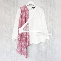 Atasan Jumputan kombinasi LB 11 Pink Baju Blus Blouse Kerja Wanita Mod - S
