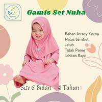 Baju Gamis Busana Muslim Syari Anak perempuan Usia 1 2 3 4 tahun 6 bln - candy rose, XS