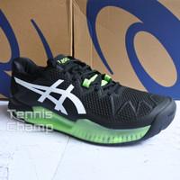 Sepatu Tenis Asics Gel Resolution 8 Black Green/ Tennis Shoe Original