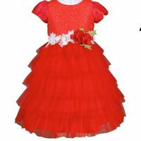 Gaun Pesta Anak Princess / Baju Pesta Premium Anak Merah - Merah, 3-4 tahun