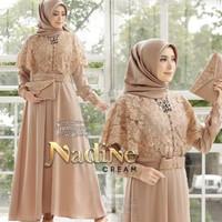 Baju Gamis Remaja Wanita Muslim Dress Remaja Kekinian Murah Terbaru - mocca, L