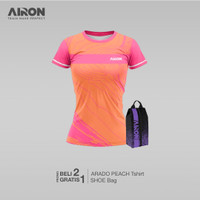 Kaos badminton arado peach wanita - gratis shoe bag purple AIRON keren - S